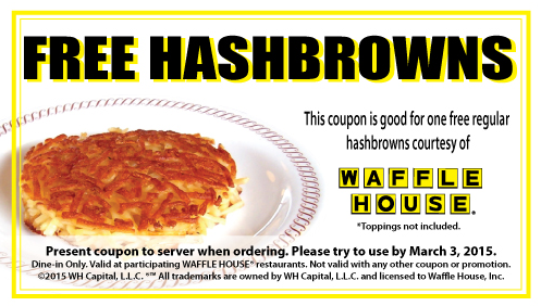 waffle house coupons. Free Hashbrown