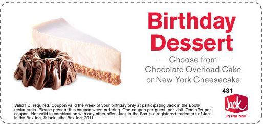 Jack in the Box Birthday coupon for a Free Dessert