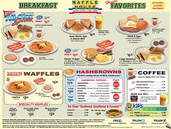 picture about Red Lobster Printable Menu referred to as Waffle Space Menu Rates All Waffle Residence Price ranges - 2019