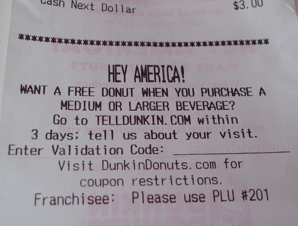 dunkin donuts coupon for free donut