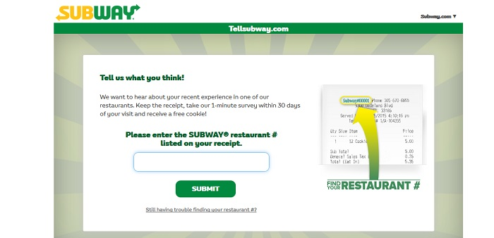 www tellsubway com survey coupons