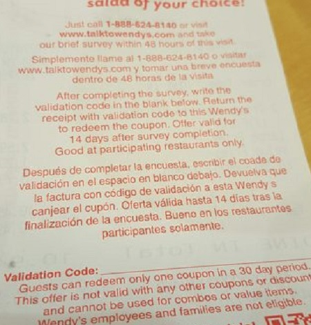 wendys coupon receipt