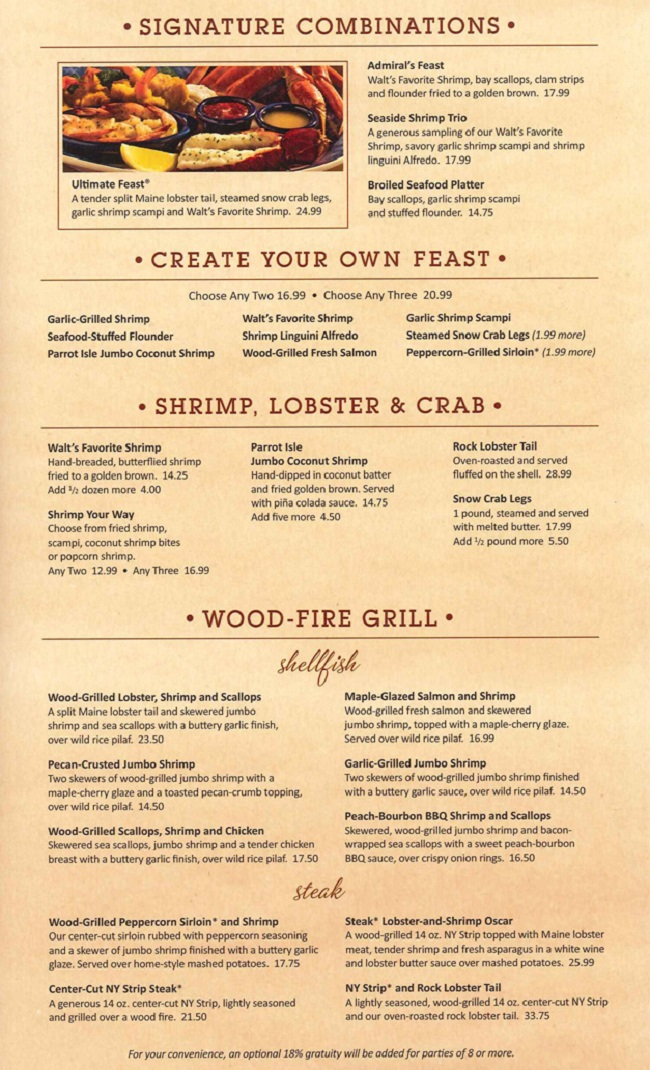 Red Lobster menu